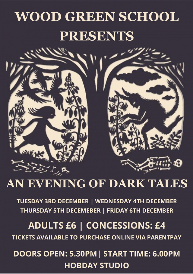Drama Showcase - An Evening of Dark Tales (Tuesday 3rd December, Wednesday 4th December, Thursday 5th December and Friday 6th December)
