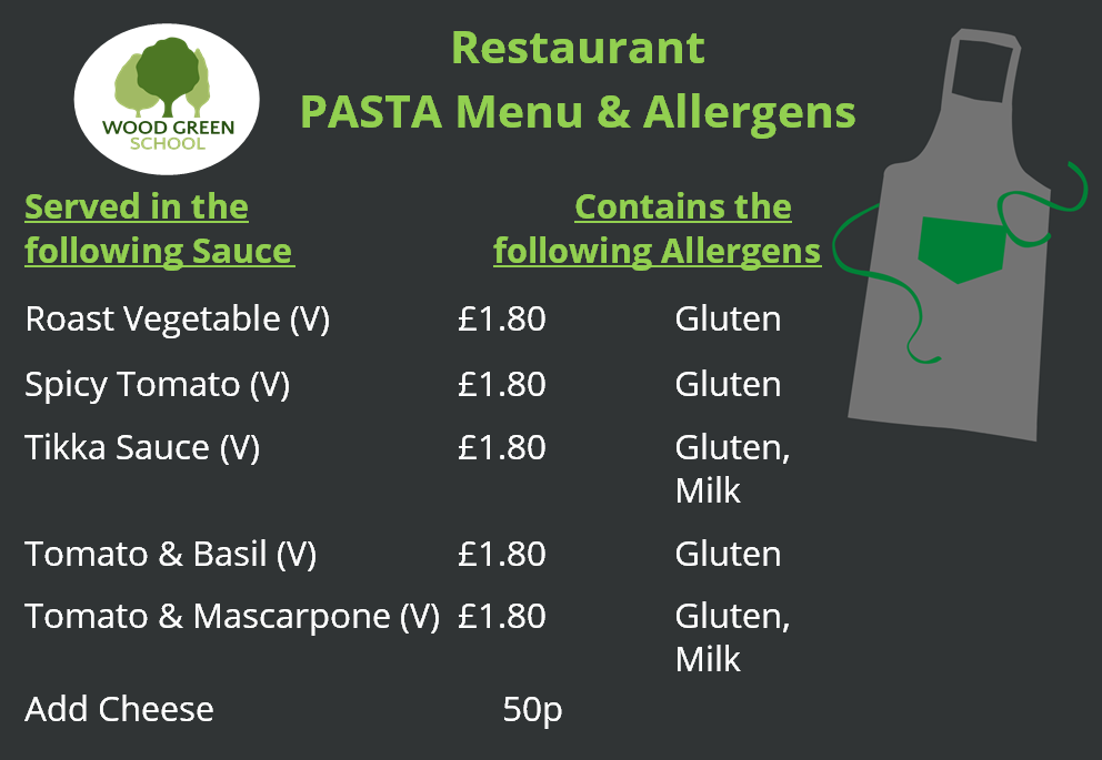 Restaurant   PASTA Menu (Sept 2020)