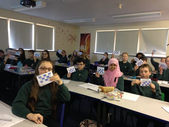 Year 7 RE students with their Word Count cards